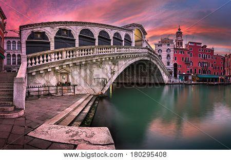 Panorama of Rialto Bridge and San Bartolomeo Church at Sunrise Venice Italy