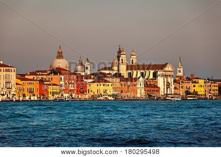 Venice Skyline and Santa Maria del Rosario Church Venice Italy