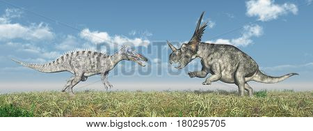 Computer generated 3D illustration with the dinosaurs Suchomimus and Styracosaurus attacking each other