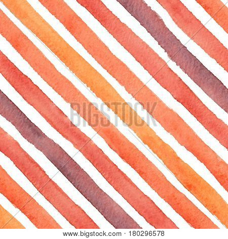 Hand drawn colorful abstract watercolor diagonal strokes seamless pattern on the white background