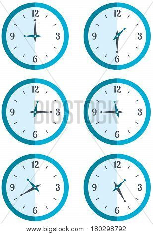 Set wall hung round clock showing different time Stock vector illustration