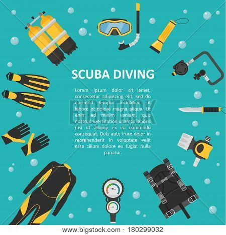Scuba diving background in a flat style. Poster template diving equipment and accessories. Banner for advertising diving with space for text.