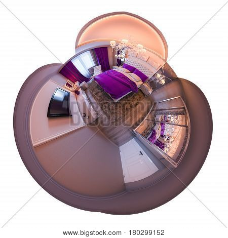 3d illustration spherical 360 degrees, seamless panorama of bedroom interior design. The bedroom is made in white and purple tones in a classic style Tiny little world