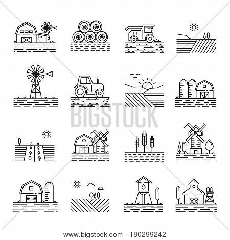 Farming icons in a thin linear style. Sign of farming fields, buildings and machinery in outline. Modern simple icon landscapes farming on white background.
