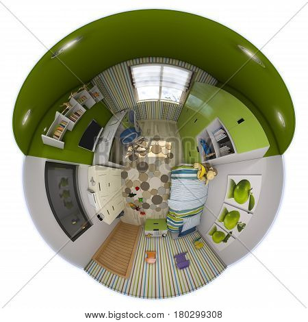 3d illustration spherical 360 degrees, seamless panorama of children's room interior design. Design a child's room is in green and blue tones. Tyny little world style image.