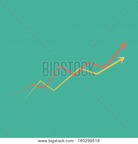 Graph. business concept. two arrow different colors