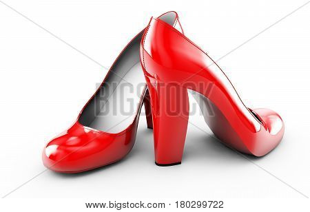 pair of red women stiletto heel shoes isolated on white background 3d render