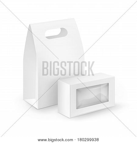 Vector Set of White Blank Cardboard Rectangle Take Away Handle Lunch Boxes Packaging For Sandwich, Food, Gift, Other Products with plastic windows Mock up Close up Isolated on White Background