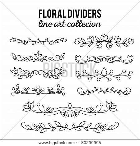 Flourishes. Dividers set. Line style decoration. Ornamental decorative elements for notes and bullet journal. Vector ornate elements design.