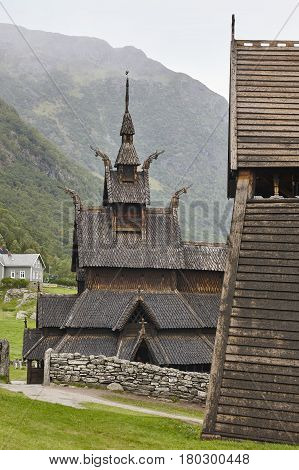 Traditional norwegian stave church. Borgund. Travel Norway. Tourism highlight