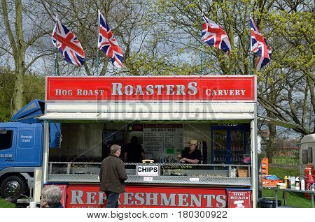Colchester United Kingdom -1 April 2017: Hog Roast stall