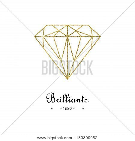 Gold glitter diamond thin line design element. Beautiful gold diamond shape on white background. Jewelry store emblem. Gemstone faceting pattern. Vector illustration.