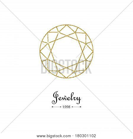 Gold glitter diamond thin line design element. Beautiful gold diamond shape on white background. Top view. Jewelry store emblem. Gemstone faceting pattern. Vector illustration.