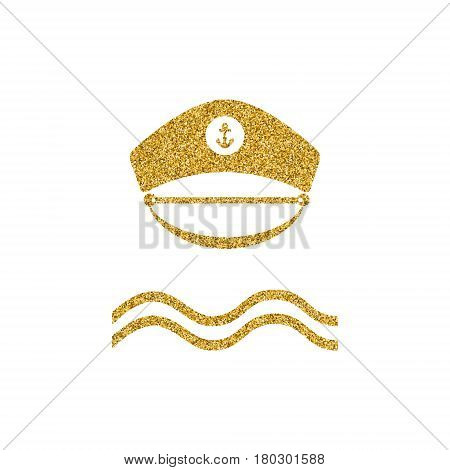 Captain gold glitter hat icon. Poster design with nautical theme. Sailor captain hat isolated. Gold effekt design element. Vector illustration.