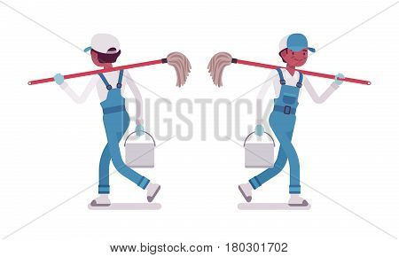 Male professional busy janitor in walking pose, young and smiling, wearing blue overall , protective gloves, holding mop, bucket, full length, front, rear view, isolated, white background