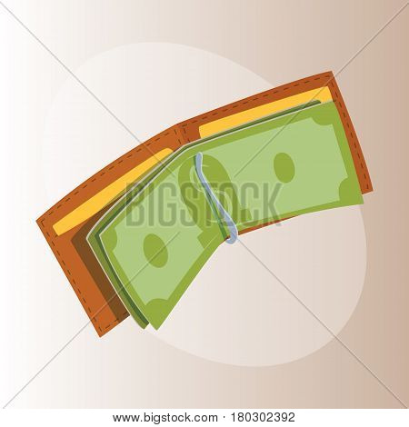 Purse wallet with money vector ico for shopping buy business financial payment bag and accessory object trendy cash wealth vector illustration. Female elegant trendy consumerism pocket.