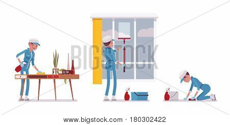 Set of female professional busy janitor wiping indoors, office cleaning, window and floor washing, young, happy and angry, wearing blue overall, cap, protective gloves, isolated on white background