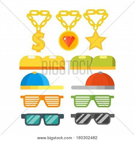 Fashion gold jewelry sunglasses design retro accessory sun and spectacles vintage plastic frame modern eyeglasses vector illustration. Elegance summer sight shape classic reflection wear.