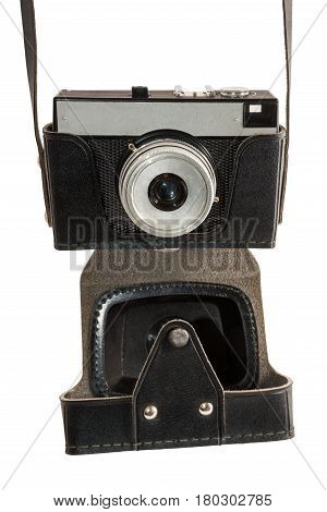 Old used dirty old-fashioned film photocamera front view with a cover for printing on a T-shirt