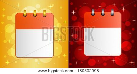 Blank sheets of calendar on festive colorful background. The template can be used for design  any holidays, personal and private events, for invitations, greeting card, etc. Square. Vector.