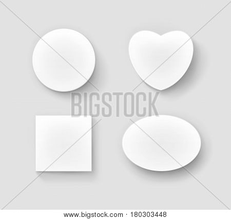 Vector Set of Blank White Round Circular Oval Square and in Shape of Heart Gift Boxes Close up Top View Isolated on Background