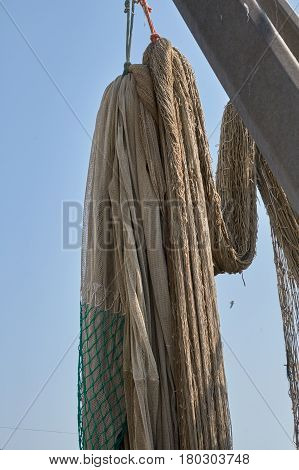 Industrial Fishing Nets On Boat