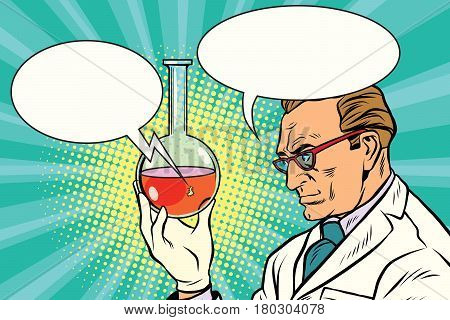 Scientist chemist talks about the analysis. Pop art retro comic book vector illustration