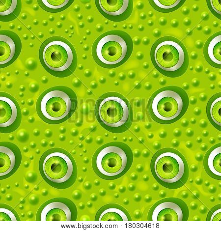 Seamless pattern with cartoon monster eyes on green skin with pimples. Textured background. Funny open green eyes of fantasy dragon. Vector illustration