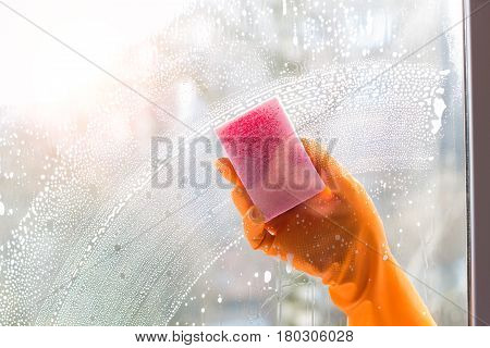 Worker Washes The Window .