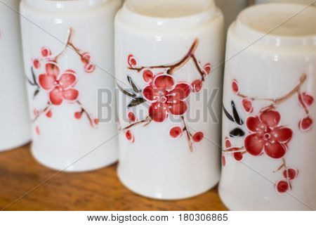 Group Of Clay Ceramic Cups stock photo