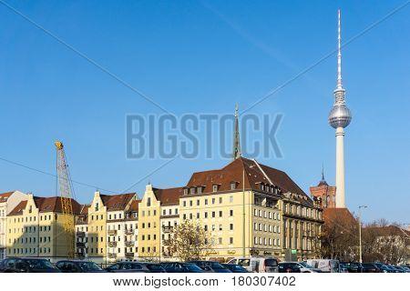 BERLIN, GERMANY- December 30, 2016 : Tv tower or Fersehturm in Berlin on December 30, 2016. BERLIN, Germany.