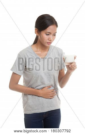 Asian Woman Drinking A Glass Of Milk Got Stomachache.