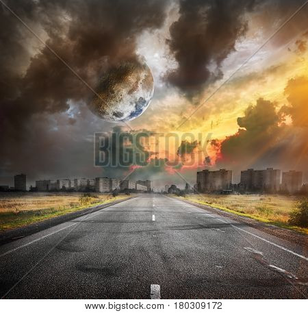 Road and the moon. Elements of this image furnished by NASA