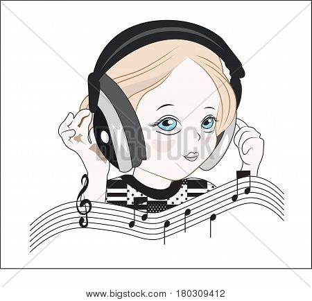 the little girl in musical earphones plus notes and a treble clef