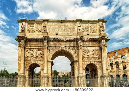 Antique arch of Constantine near Coliseum in Rome, Italy