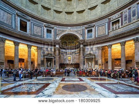 ROME - OCTOBER 2, 2012: Inside the Pantheon. Pantheon is a famous monument of ancient Roman culture, the temple of all the gods built in the 2nd century.