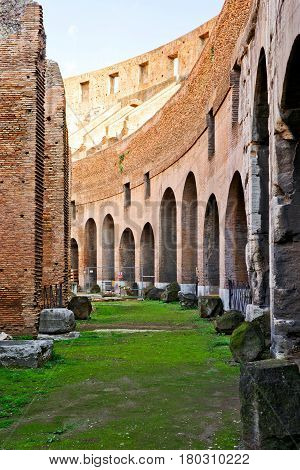 ROME - OCTOBER 4, 2012: Inside the Colosseum in Rome, Italy.