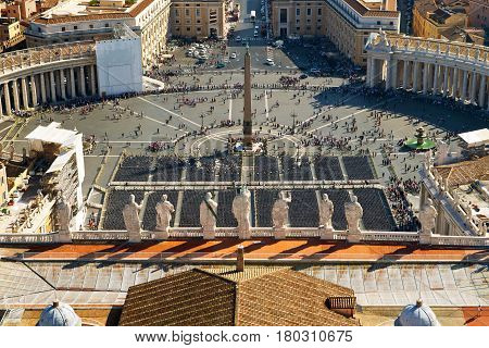 View of St Peter's Square from dome of St. Peter`s Basilica, Rome, Italy