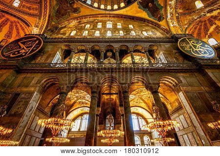 ISTANBUL - MAY 25, 2013: Interior of the Hagia Sophia (Ayasofya). Church of Hagia Sophia is the greatest monument of Byzantine Culture. It was built in the 6th century.