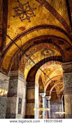 ISTANBUL - MAY 25, 2013: Interior of the Hagia Sophia. Hagia Sophia (Ayasofya) is the greatest monument of Byzantine Culture. It was built in the 6th century.