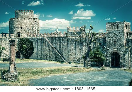 Inside the Yedikule Fortress in Istanbul, Turkey. Yedikule fortress or Castle of Seven Towers is the famous fortress built by Sultan Mehmed II in 1458.