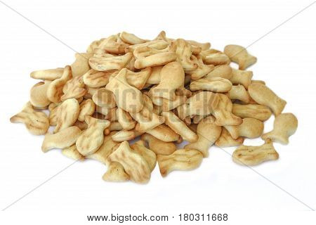 A handful of cookies crackers isolated on white background