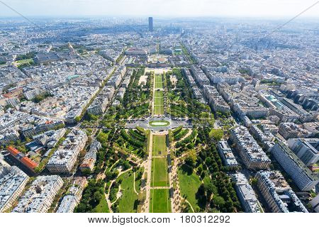 View of Champ de Mars from the Eiffel Tower in Paris, France