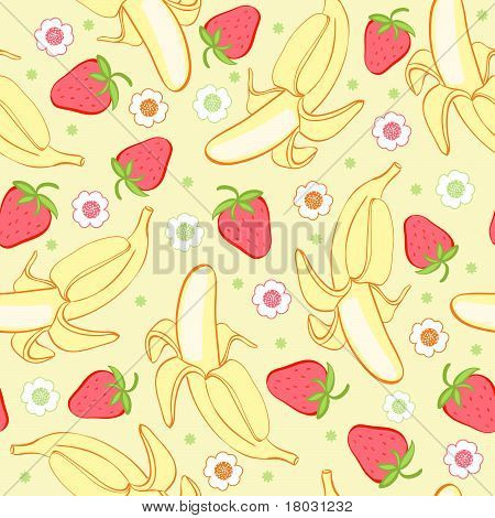 Seamless background texture strawberry and banana