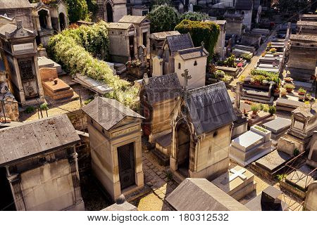 PARIS - SEPTEMBER 24, 2013: Montmartre Cemetery. Montmartre cemetery is known there are ancient cemetery that attracts many tourists.