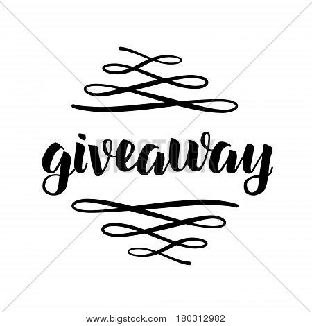 Giveaway Freebies For Promotion In Social Media With Swashes Isolated On White Background. Free Gift
