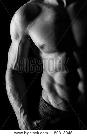Muscular Torso of Sexy Shirtless Young Male Model Close Up on Black Background