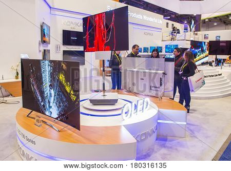 LAS VEGAS - JAN 08 : The Konka booth at the CES show held in Las Vegas on January 08 2017 CES is the world's leading consumer-electronics show.