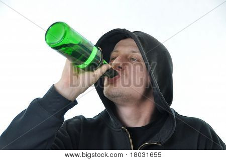 Young Man Drinking Alcohol Isolated