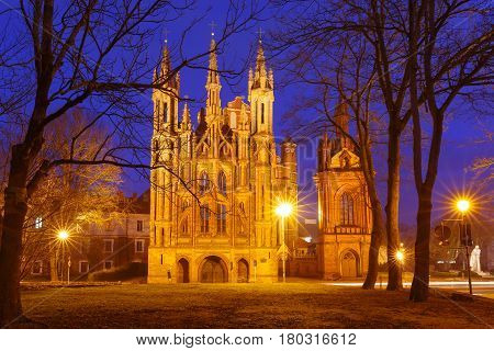 Facade of Saint Anne church during evening blue hour in Vilnius, Lithuania, Baltic states.